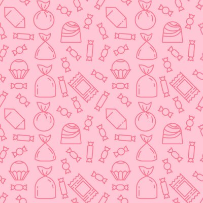 Papiers peints Sweets icon pattern background. Seamless sweets pattern. Symbol, logo illustration. Vector graphics