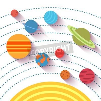 Papiers peints Système solaire et objets spatiaux. Vecteur, ensemble, plat, Style.