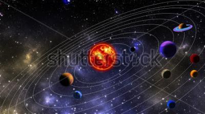 Papiers peints système solaire. La photographie est préparée à l'aide du rendu 3D et de la distribution du bruit dans un logiciel de traitement d'image et de codage.