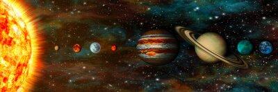 Papiers peints Système solaire, planètes dans une rangée, ultra-large
