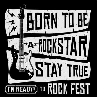 Papiers peints T-shirt ou illustration d'affiche de vecteur de musique rock