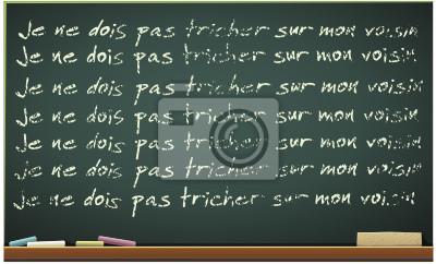 Papier Peint Tableau Noir tableau noir et sa punition en français (détouré) papier peint