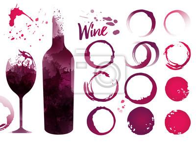 Papiers peints Taches de vin réglées pour vos designs. Couleur de la texture du vin rouge ou du vin rose. Vecteur