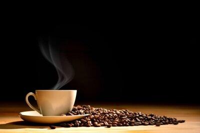 Papiers peints Tasse, café, fumée, café, haricots, vieux, bois, fond