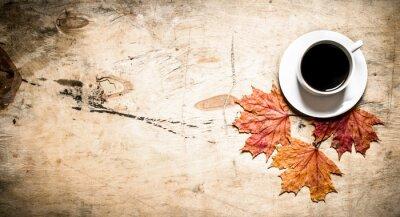 Papiers peints Tasse, chaud, café, automne, feuilles