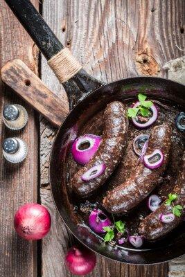 Papiers peints Tasty boudin noir avec du persil et l'oignon