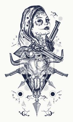 Tatouage Criminel Mexicain Et Conception De T Shirt Femme De Papier