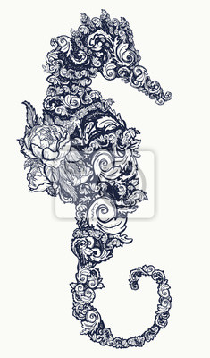 tatouage de cheval de mer et design de t shirt symbole de voyage papier peint papiers peints. Black Bedroom Furniture Sets. Home Design Ideas