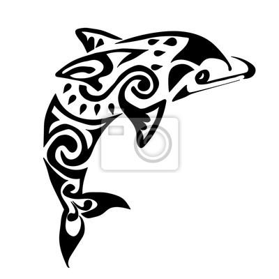 tatouage de dauphin noir polynésie maori vecteur papier peint