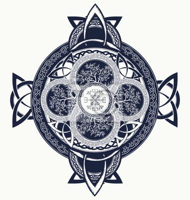 Tatouage De La Croix Celtique Dragons Et Arbre Celtique De La