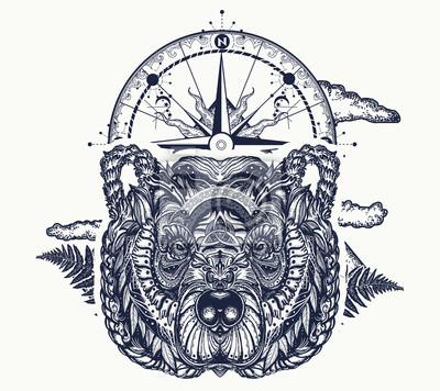 Tatouage Ours Et Boussole Et Conception De T Shirt Ours Grizzli