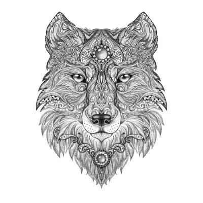 Papiers peints Tatouage tête loup bête de proie