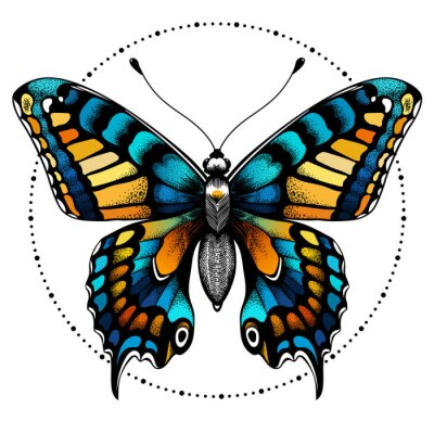 Papiers peints Tattoo butterfly in circle of beads. Beauty symbol