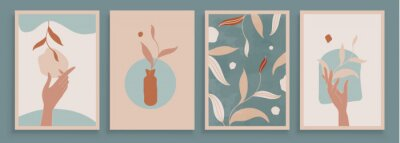 Papiers peints Teal and Peach Abstract Botanical Art with Woman Hands. Set of soft color painting wall art for house decoration. Minimalistic canvas background design. Vector wall art plants in boho style.