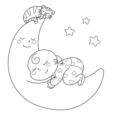 Papiers peints Tenera luna con bebè che dorme