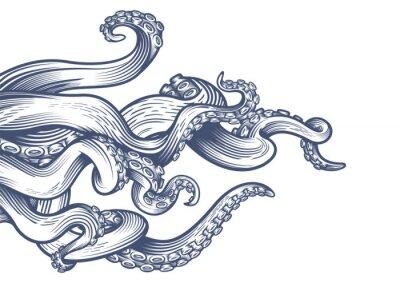 Papiers peints Tentacules d'une pieuvre. Illustration vectorielle dessinés à la main dans la technique de gravure isolée sur fond blanc.