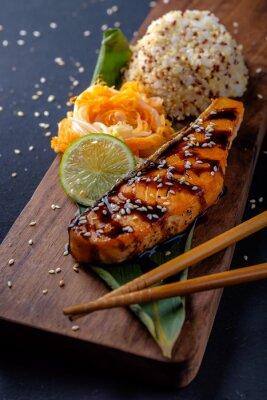 Papiers peints Teriyaki, saumon, riz, bois, plateau