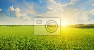 Papiers peints terrain, le lever du soleil et le ciel bleu