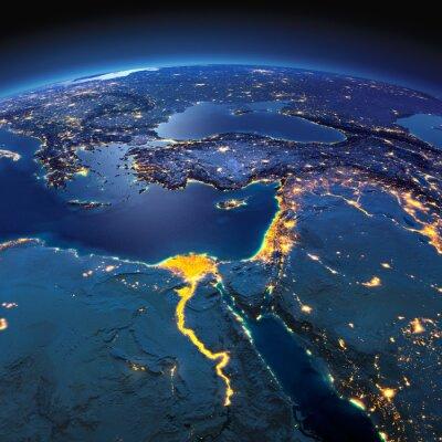 Papiers peints Terre détaillée. Afrique et Moyen-Orient sur une nuit de lune