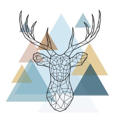 Papiers peints Tête de cerf géométrique. Style scandinave