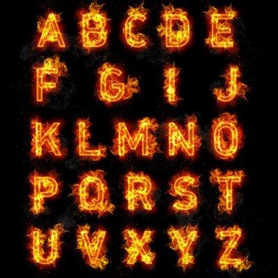 Papiers peints texte de police de Feu toutes les lettres de l'alphabet sur fond noir