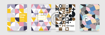 Papiers peints Texture de fond abstrait motif géométrique pour la conception de la couverture de l'affiche. Modèle de bannière de vecteur de couleur minimale avec cercles, carré