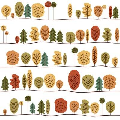 Papiers peints Texture décorative sans soudure de modèle avec des arbres d'automne. Motif stylisé sans couture coloré d'arbres.