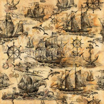 Papiers peints Texture vintage sans soudure, fond d'écran sur un thème marin, dessiné à la main avec des vieux voiliers, requins, volants, cercles de sauvegarde et vieux papiers.
