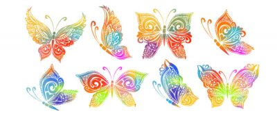 Papiers peints The abstract set butterflies is multicolored. Vector illustration
