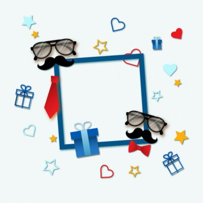 Papiers peints The blue frame on white background with a place for the text, congratulations to men with the holidays birthday, father's day and others. On the orange background stars, hearts, moustaches, glasses .