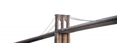 Papiers peints The Brooklyn Bridge (New York, USA) isolated on white background