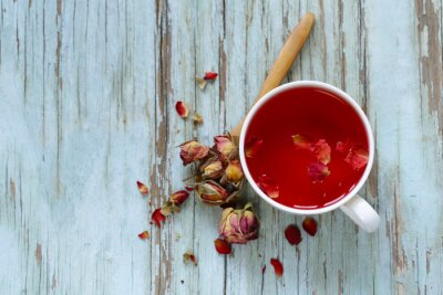 Papiers peints Thé de fleur rouge, des pétales de rose