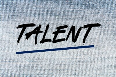 The word Talent on a light jeans structure as a concept