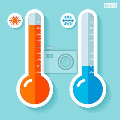Thermomètres à plat, température froide et chaude, élément de papier ...