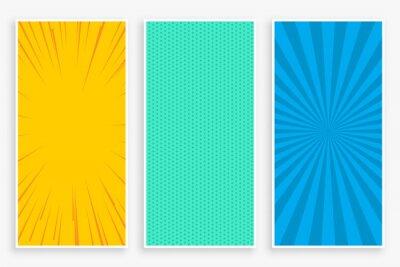 Papiers peints three color comic style vertical banners set design