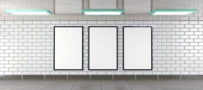 Papiers peints three vertical billboard frames as mockup, rendered in 3D