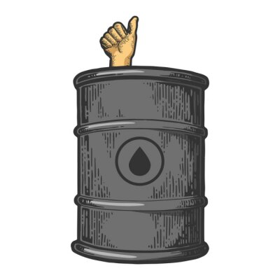 Thumb up in oil barrel color sketch engraving vector illustration. Scratch board style imitation. Black and white hand drawn image.