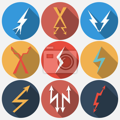 Thunder lightning flat icons set in circle with shadow. Vector illustration.