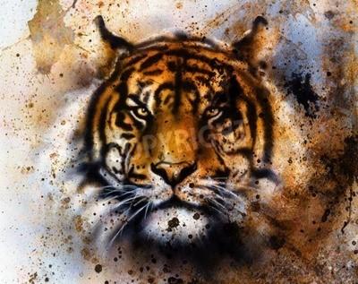 Papiers peints Tigre collage sur fond abstrait couleur, la structure de la rouille, animaux de la faune, le contact visuel.