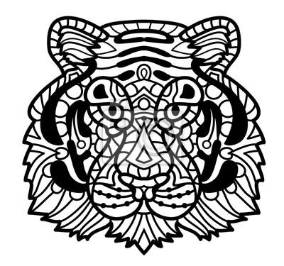 Coloriage Anti Stress Visage.Papiers Peints Tigre De Vecteur Illustration De Visage De Zentangle Tiger