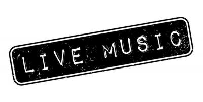Papiers peints Timbre en caoutchouc Live Music. Design grunge avec rayures de poussière. Les effets peuvent être facilement éliminés pour un look net et net. La couleur est facilement modifiée.