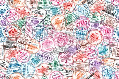 Papiers peints Timbres de visa de passeport, modèle sans couture. Tampons encreurs des bureaux internationaux et d'immigration. Fond de concept de voyage et de tourisme