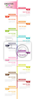 Papiers peints Time line for 1 year, 12 months, Timeline infographics design vector 12 steps and Presentation business can be used for Business concept with 12 options, steps or processes.