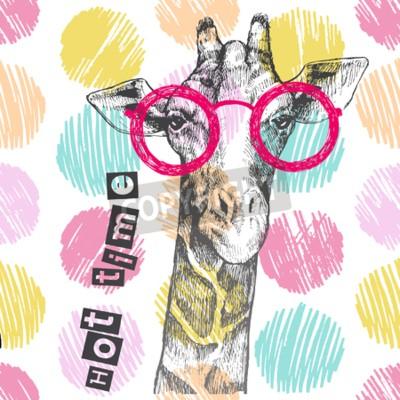 Papiers peints Tiré à la main de la girafe. Lunettes de girafe brillantes - hipster. Temps chaud. Impression d'été sur les vêtements, chaussures, T-shirt, raglan. Vecteur