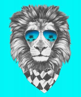 Papiers peints Tiré par la main portrait de Lion avec des lunettes de soleil et un foulard. Vecteur isolé éléments.