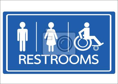 Toilettes Symbole Homme Femme Et Fauteuil Roulant Handicap Icône