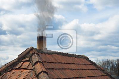 Toit avec cheminée