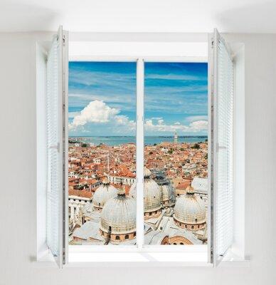 Papiers peints Toits de Florence vu à travers la fenêtre