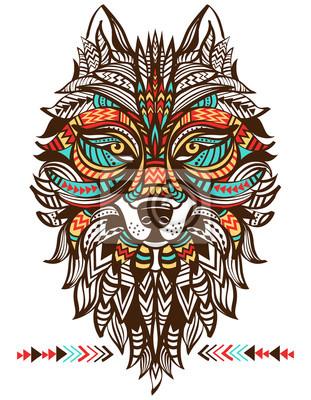 Totem ethnique d'un loup. Le loup indien. Un tatouage d'un loup avec un ornement. Main, dessiné, vecteur, Illustration