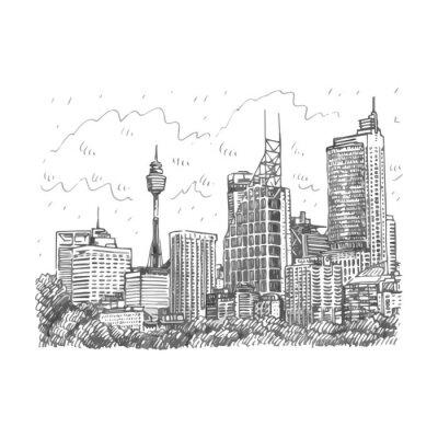 Papiers peints Tour de Sydney et vue de gratte-ciel de Sydney, Australie. Vecteur de crayon au crayon à la main.